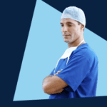 A cut out picture of a surgeon in scrubs
